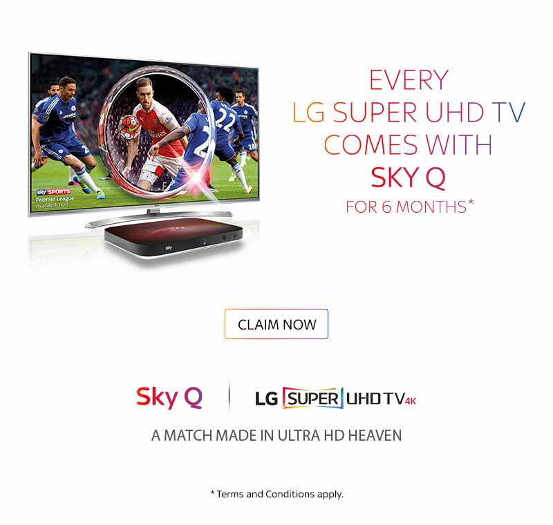 Every LG Super UHD TV comes with Sky Q for 6 Months